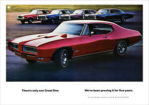 PONTIAC GTO MUSCLE CAR 68 67 66 65 64 RETRO A3 POSTER PRINT FROM ADVERT 1968