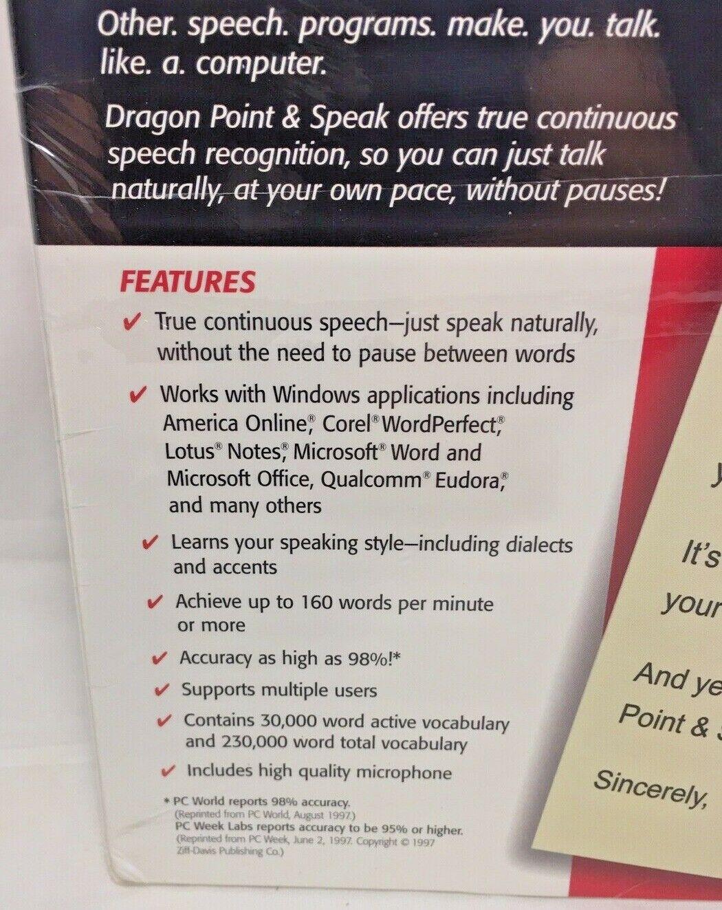 Dragon Point & Speak 3 0 W Microphone Voice Speech Recognition Windows 98