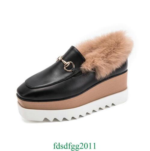Chaud Fourrure De Haut Compensée Plateforme Réel Femmes Lapin Chaussures Bottines De Fourrure Talon Horsebit 0UOZw
