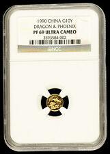 1990 China Dragon & Phoenix NGC PF69UC Gold 1g gram 10Yn Yuan Chinese Non Panda