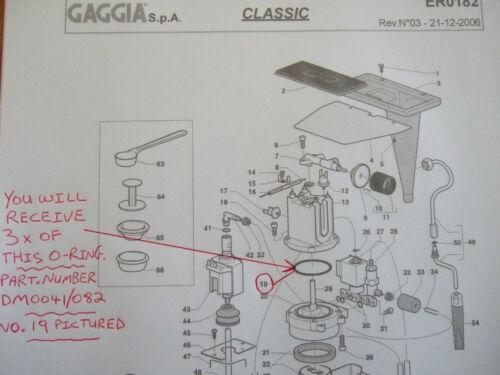 3x GAGGIA CLASSIC BABY EVO Tebe CALDAIA GUARNIZIONI o-ring EPDM 1st CLASSE DM0041//082