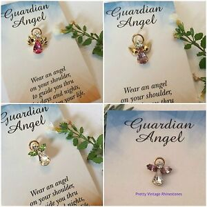 643795df6a1 Image is loading Angel-Lapel-Pin-Birthstone-Message-Card-Stocking-filler-