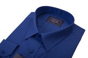 da-uomo-nuovo-navy-scuro-blu-colletto-regolare-cotone-MATRIMONIO-POLSINO-SINGOLO