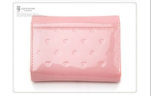 Crystal Ladies Wallet Genuine Leather Trifold Purse  ID Card Coins Heart OMNIA