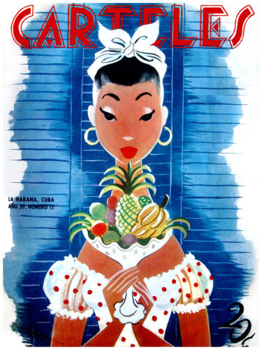 162.Cuban fashion posterPretty Pinup w/tropical fruits..Decoration art dream