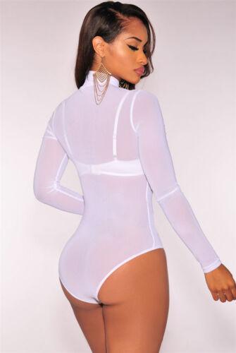 Womens Long Sleeve Bodysuit Bodycon Party Jumpsuit Romper Leotard Tops Blouse