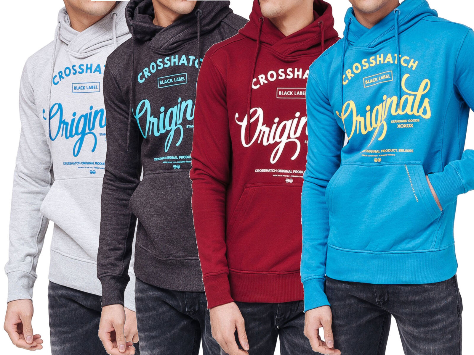 CROSSHATCH Herren Sweatshirt Pullover GILGURRY CH ORIGINALS PRINTS Hoodie Kapuze