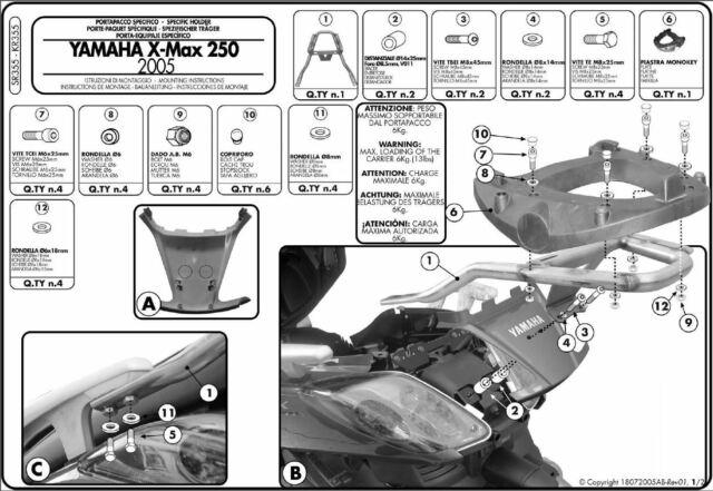 SR355 Givi Ataque Bauletto Monokey para Yamaha X-Max 125-250 2008 2009