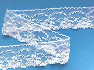 """Laces Galore 5 m Pretty White Soft Stretch Nottingham Lace Trim  3.25 cm//1.25/"""""""