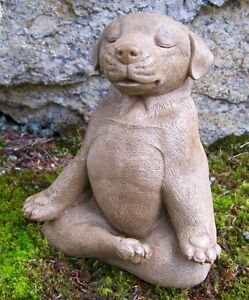 Meditating Dog Statue Zen Yoga Dog Cement Garden Statue Concrete