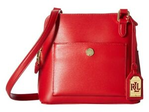 7fe74ec51e91 Image is loading Ralph-Lauren-Newbury-Bailey-Dome-Leather-Crossbody-Red