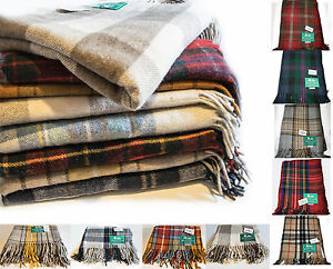 SCOTTISH-HIGHLAND-BORDER-TWEEDS-100-Wool-Tartan-Blankets-Rugs-Throws-blanket