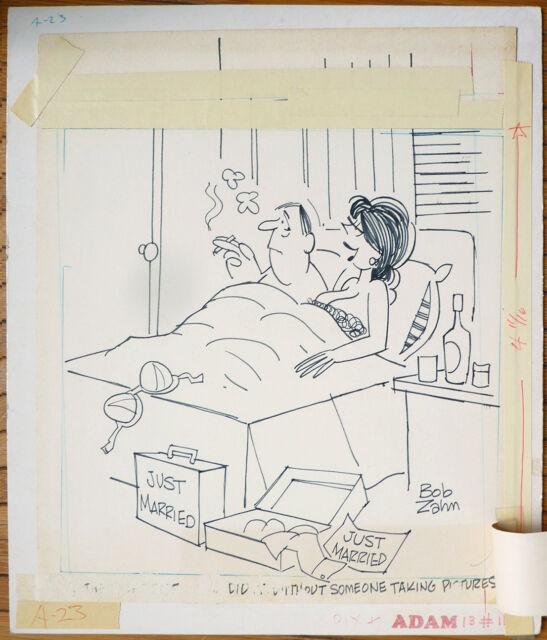 Dessin original cartoon humour érotique vers 1965 Adam Signé Bob Zahn