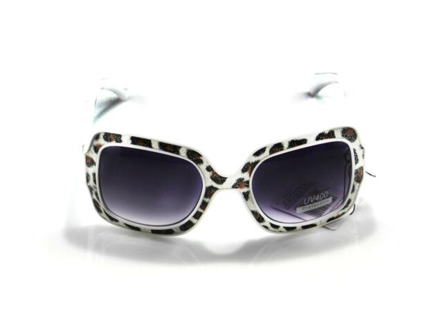 100%UV400 Womens Retro Large Square Multi-Color Leopard Snake Leather Sunglasses