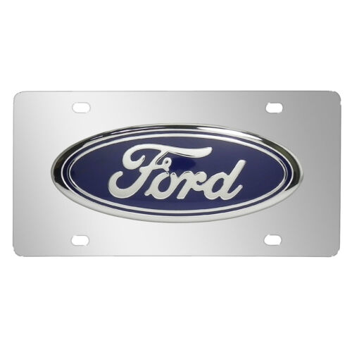 Made in USA Ford 3D Logo in Super Size Chrome Stainless Steel License Plate
