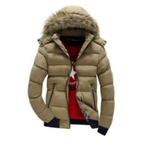 Men/'s Warm Down Cotton Jacket Fur Collar Thick Winter Coat Outwear Hooded Parka