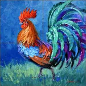 Rooster-Tile-Backsplash-Senkarik-Ceramic-Country-Life-Art-MSA197