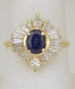 14k-Oro-Giallo-1-00ct-Ovale-Zaffiro-Blu-Baguette-Diamante-Ballerina-Anello
