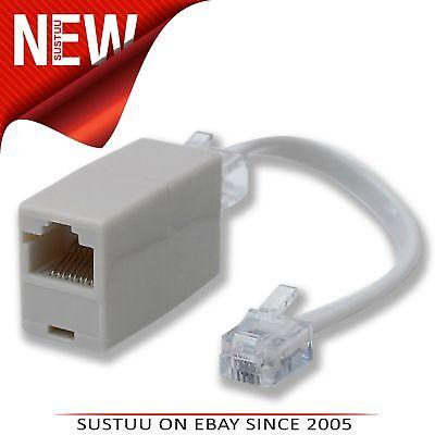 1 Plug, 3 Sockets RJ11 Phone Line Splitter//Separator//Adaptor for 2 lines White