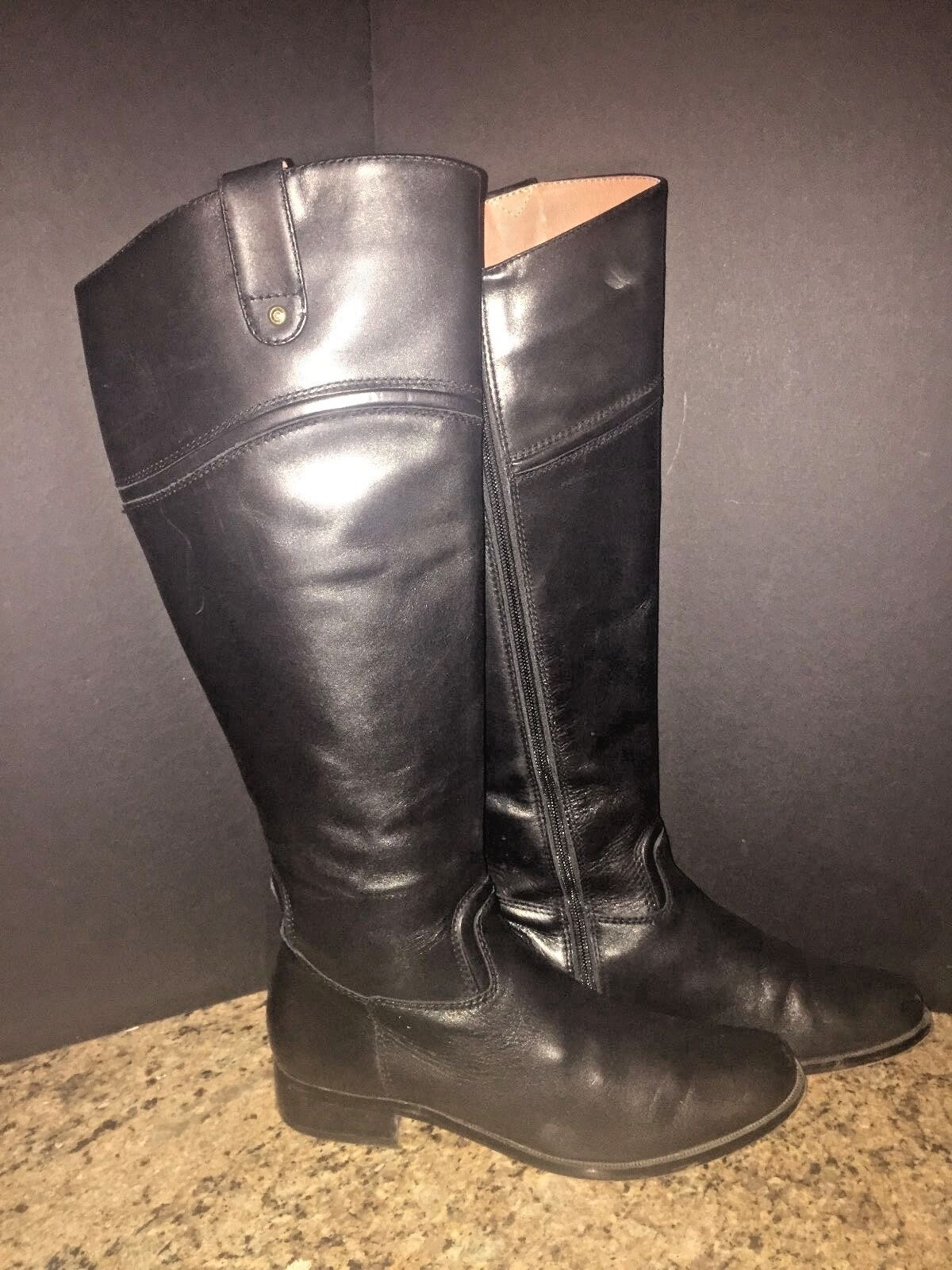 CORSO COMO STAMFORD TALL EQUESTRIAN STYLE BOOTS BLACK LEATHER KNEE KNEE KNEE HIGH-SIZE 6.5 9a979e