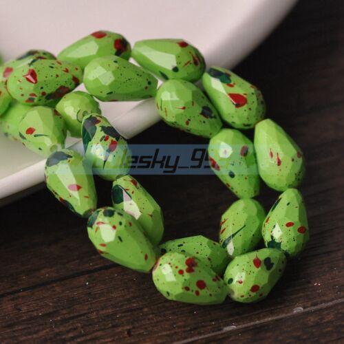 30 ~ 50pcs 8X12mm 10X15mm Larme Coloré Faceted loose Glass Spacer Beads vrac