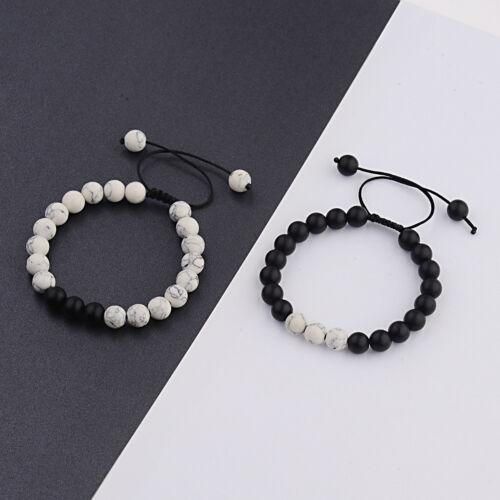 Nouvelle distance Bracelet Pour Les Amoureux Amis Cadeau 8 mm Perles couples Anniversaire Cadeau