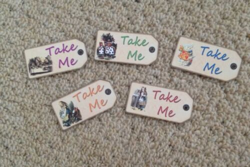 20 Alice in wonderland Take Me tags  vintage Birthday tea party Decorations