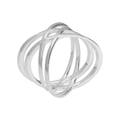 Sterling Silver Double Criss Cross Ring Size Small Medium Large Extra Large