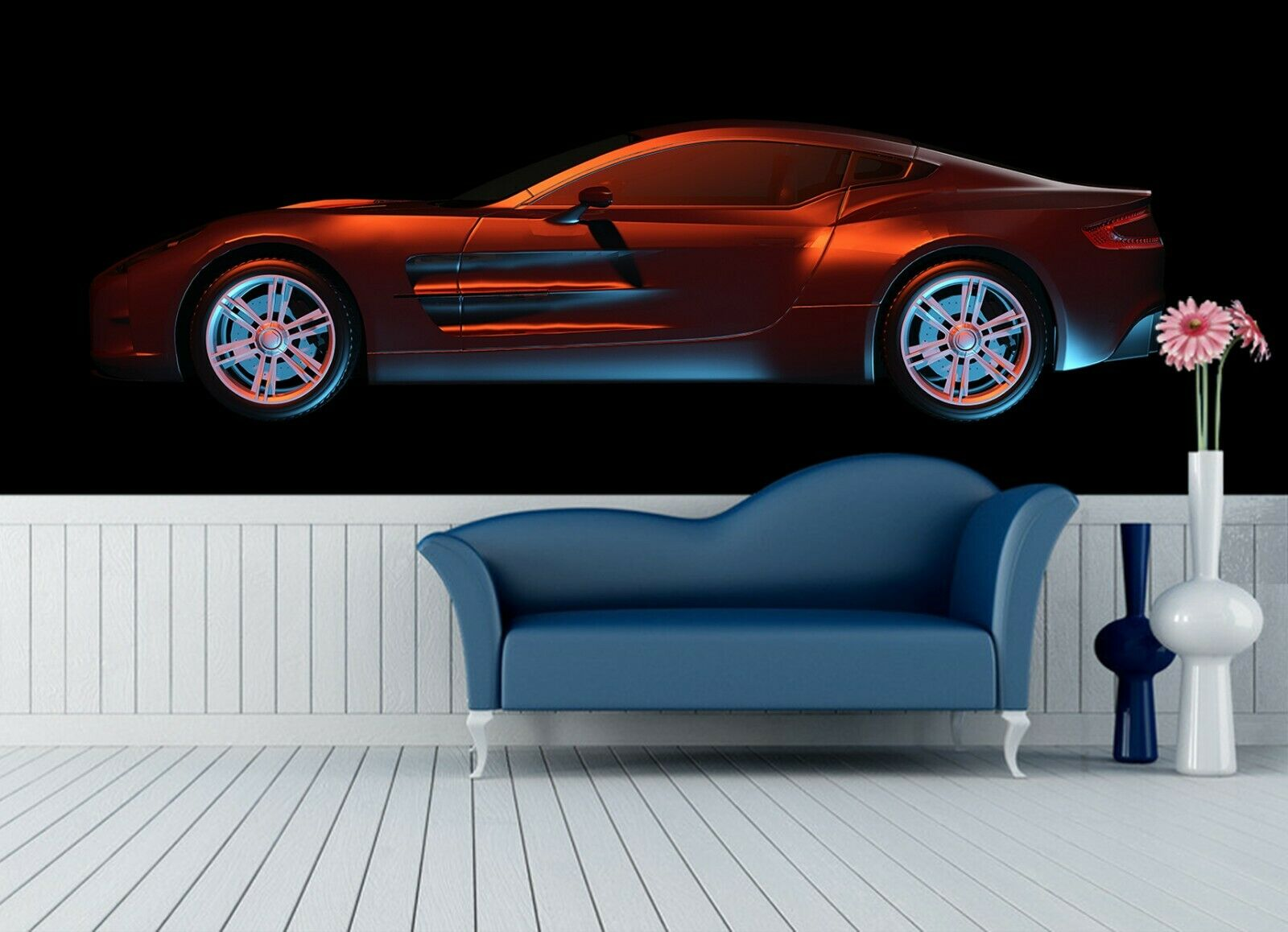 3D Sports Car N609 Transport WandPapier Mural Self-adhesive Removable Amy