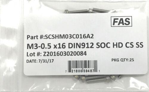 M3-0.5 x 16 Stainless Steel Socket Head Socket Cap Screws DIN912 M3x0.5x16 25