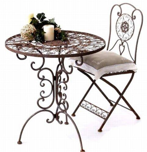 Tavolo con 2 Sedie Set Stile Coloniale Ferro Battuto Tecla Accessori da Giardino