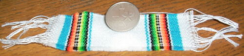 Serape Blanket Small White /& Blue 1:12 Dollhouse Mexican Miniature Table Runner