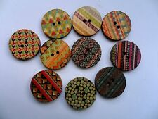 24 pcs Mixed Vintage Style Patterned Wood  Scrapbooking // Sewing Buttons 20mm
