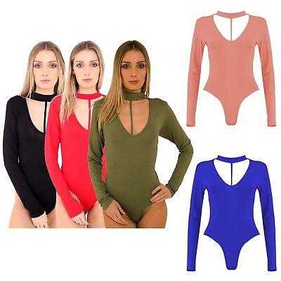 New Women Long Sleeve Bodysuit Choker Split Strap Neck SlimFit Leotard Top 8-22