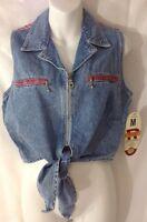 Revolt Jean Shirt M Denim Blue Red Front Tie Metal Zip Vest Top Plaid Patch
