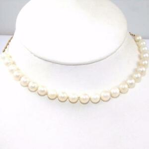 14K-Yellow-Gold-White-Freshwater-Pearl-Strand-Chain-Necklace-22-034-QX