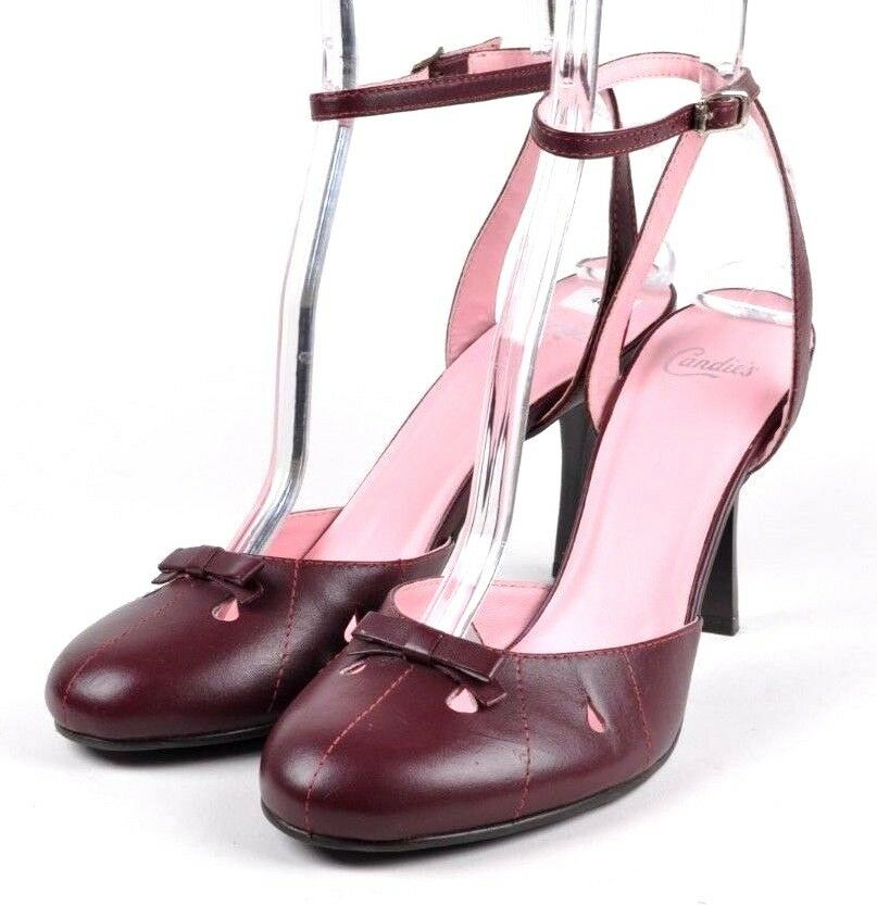 Candies Ladder Burgundy Leather Bow Ankle Wrap Slingback B Heels, Women's US 8 B Slingback e184ad