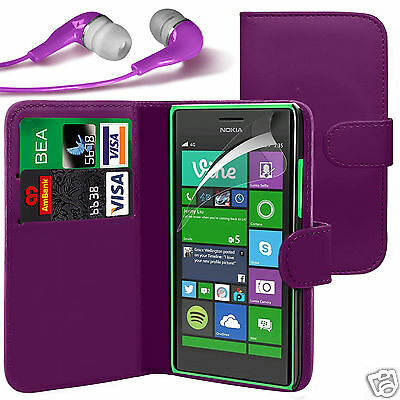 Purple PU Leather Wallet Flip Case Cover, LCD Film & Earphone For Various Phones