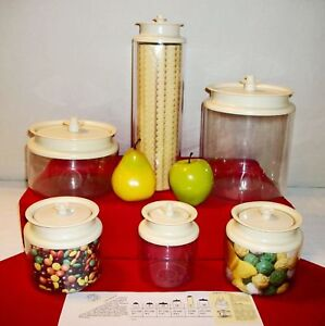 Image Is Loading Tupperware Almond Counterparts Clear Acrylic Canisters Size Choice