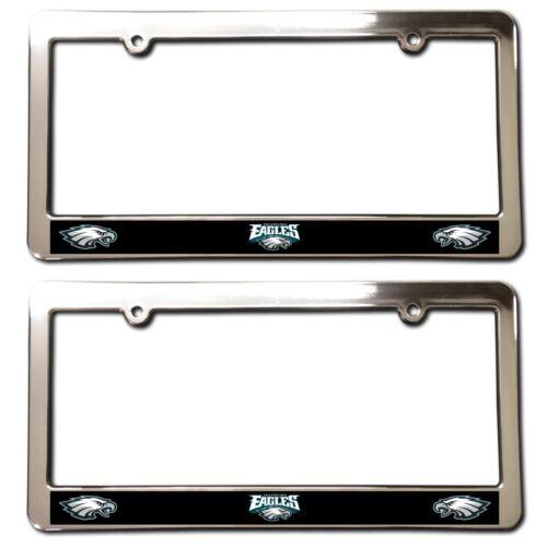 2 Philadelphia EAGLES Chrome Faced License Plate Frames car accessory football