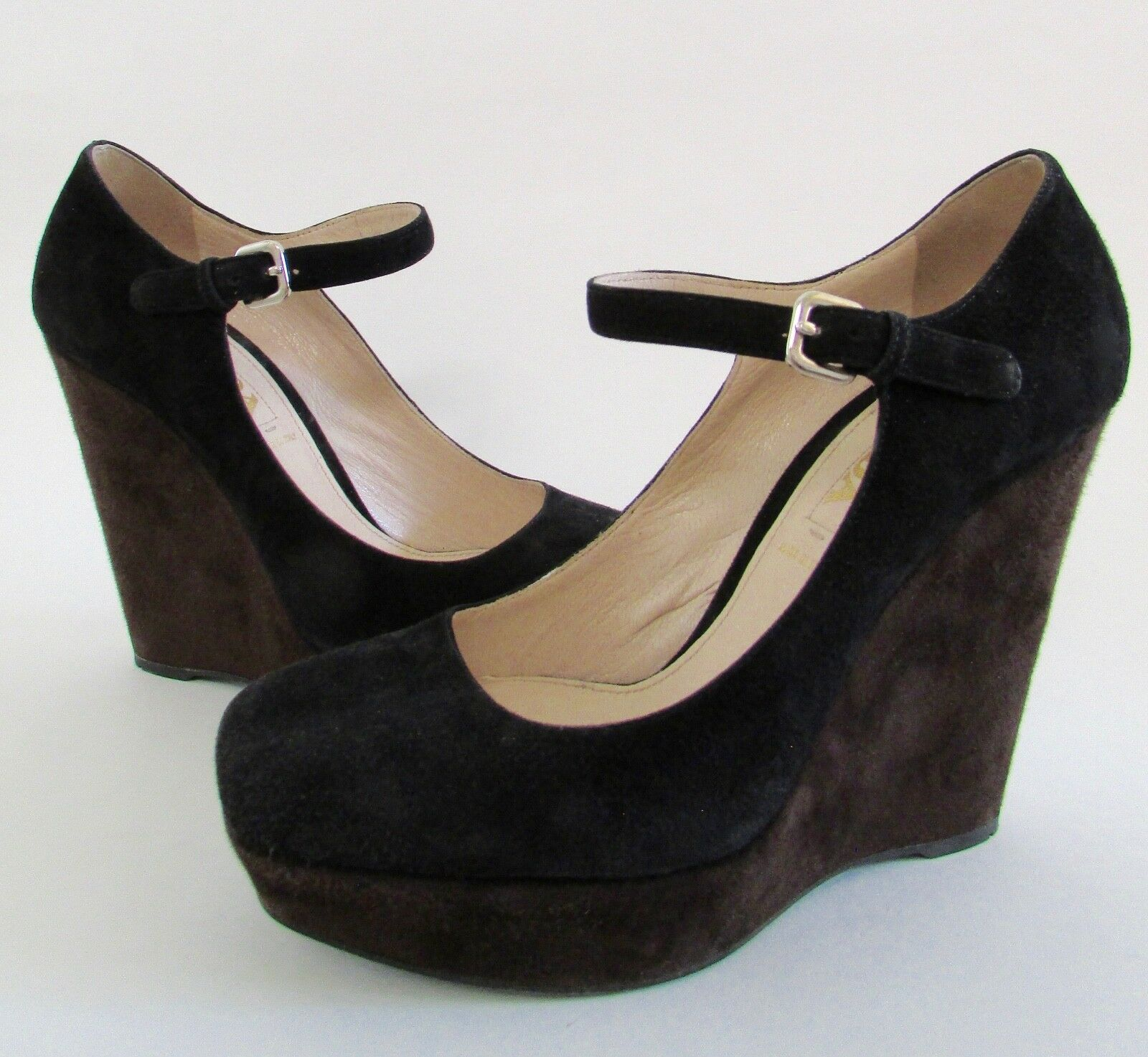 720 PRADA Black Brown Two-Tone Suede Mary Jane Wedge Sz 7