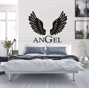 Das Bild Wird Geladen WANDTATTOO Wandaufkleber Angel Fluegel Schriftzug  Wohnzimmer Style Motiv