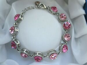 Silver-Tone-Faceted-Pink-Glass-Rhinestone-Round-Circle-Link-Signed-Bracelet