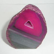 Pink Agate cut base Crystal Geode 176g