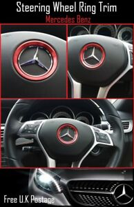 For-Mercedes-Benz-Red-Aluminum-Steering-Wheel-Trim-Ring-51mm