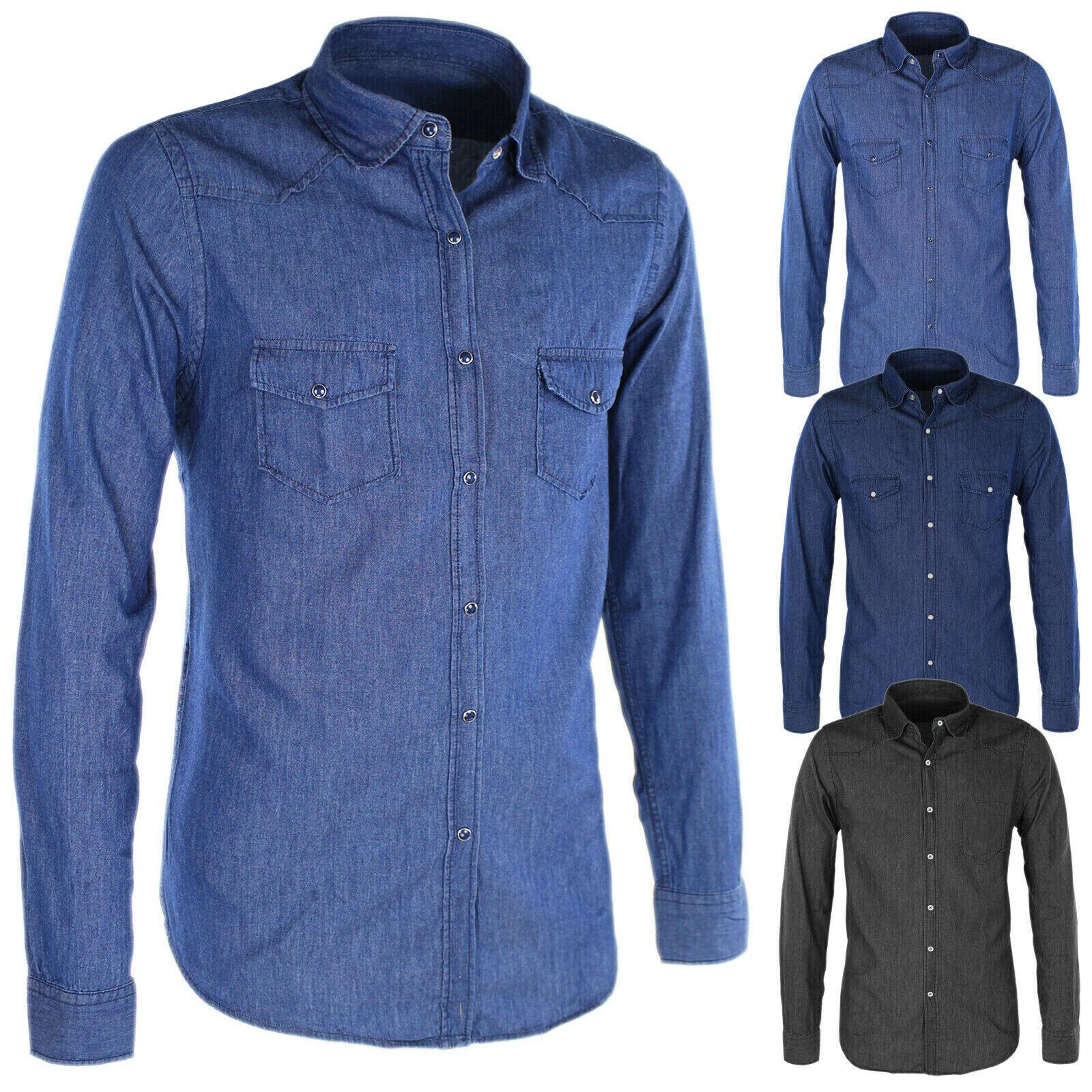 Dettagli su Camicia Uomo Di Jeans Cotone Casual Slim Fit Collo coreana e Colletto Regolare