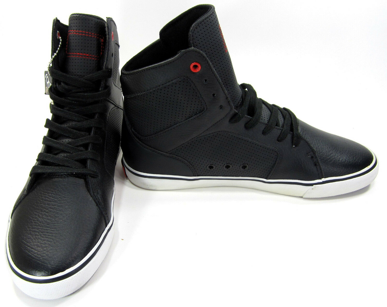 36fd1e5107f1 Radii Radii Radii Shoes Simple Leather Perforated Black White Sneakers Size  9.5 d366c4