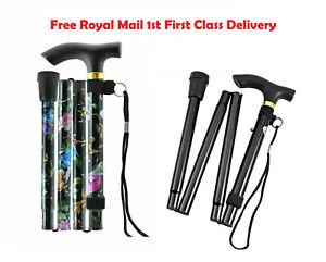 Walking-SticK-Easy-Adjustable-Folding-Cane-Flower-Style-amp-Plain-Design-UK-Seller
