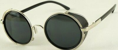 Mens Womens Steampunk Round Vintage Retro Cyber Goggles Goth Emo Punk Sunglasses