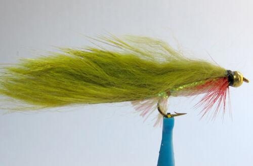 10 x Mouche de Peche Streamer Zonker Olive BILLE H8//10//12 alevin fly tying fly